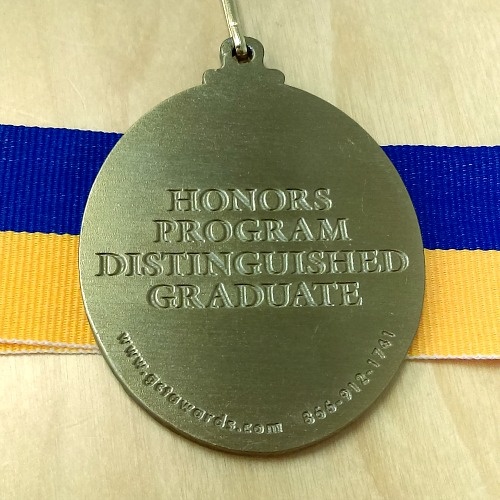 Distinguished Graduate medal back