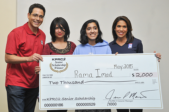 KPRC surprises student with Senior Scholarship Award: Student Rama Imad is Johns Hopkins University bound