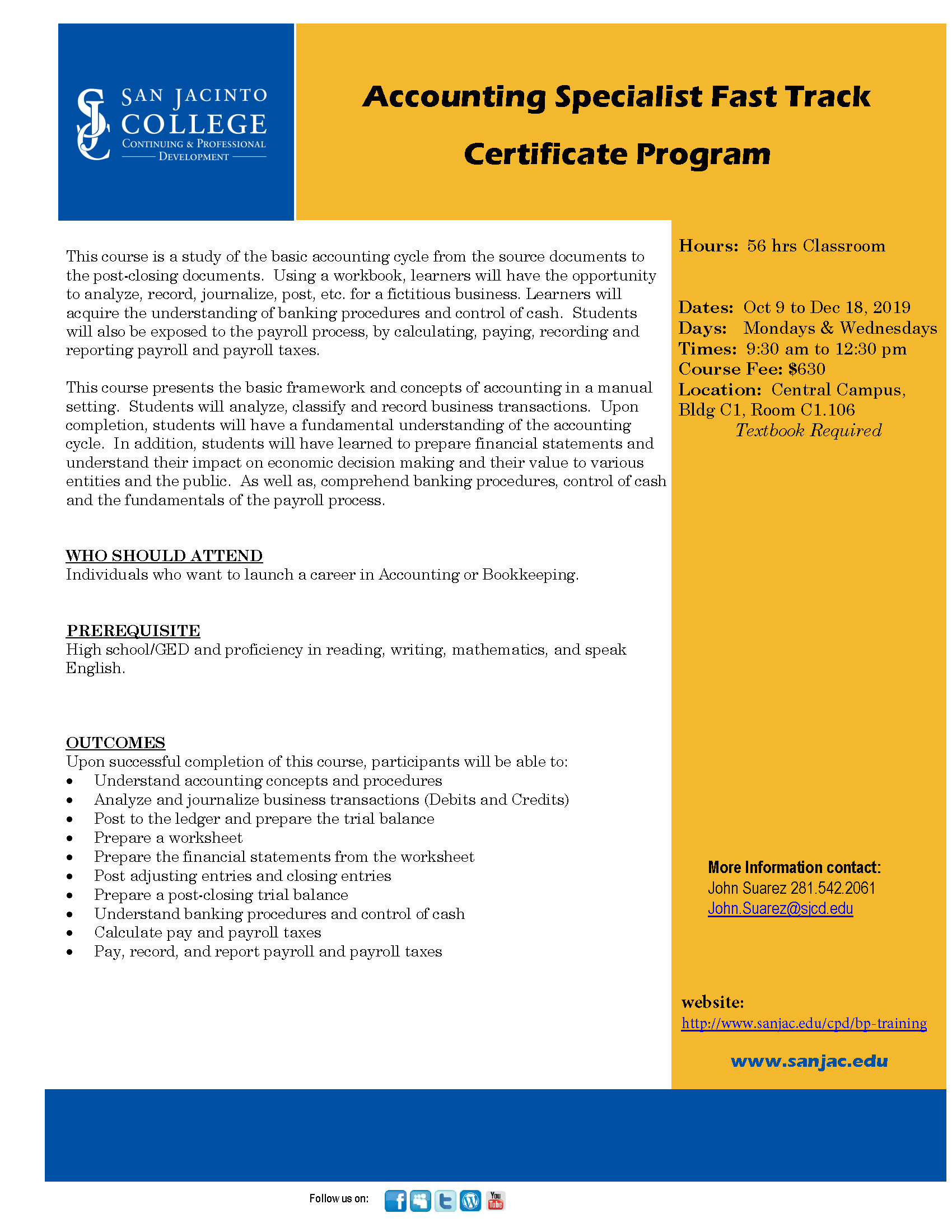 Accounting Specialist Fast Track Certificate Program San