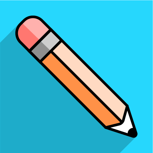 wooden pencil on blue background