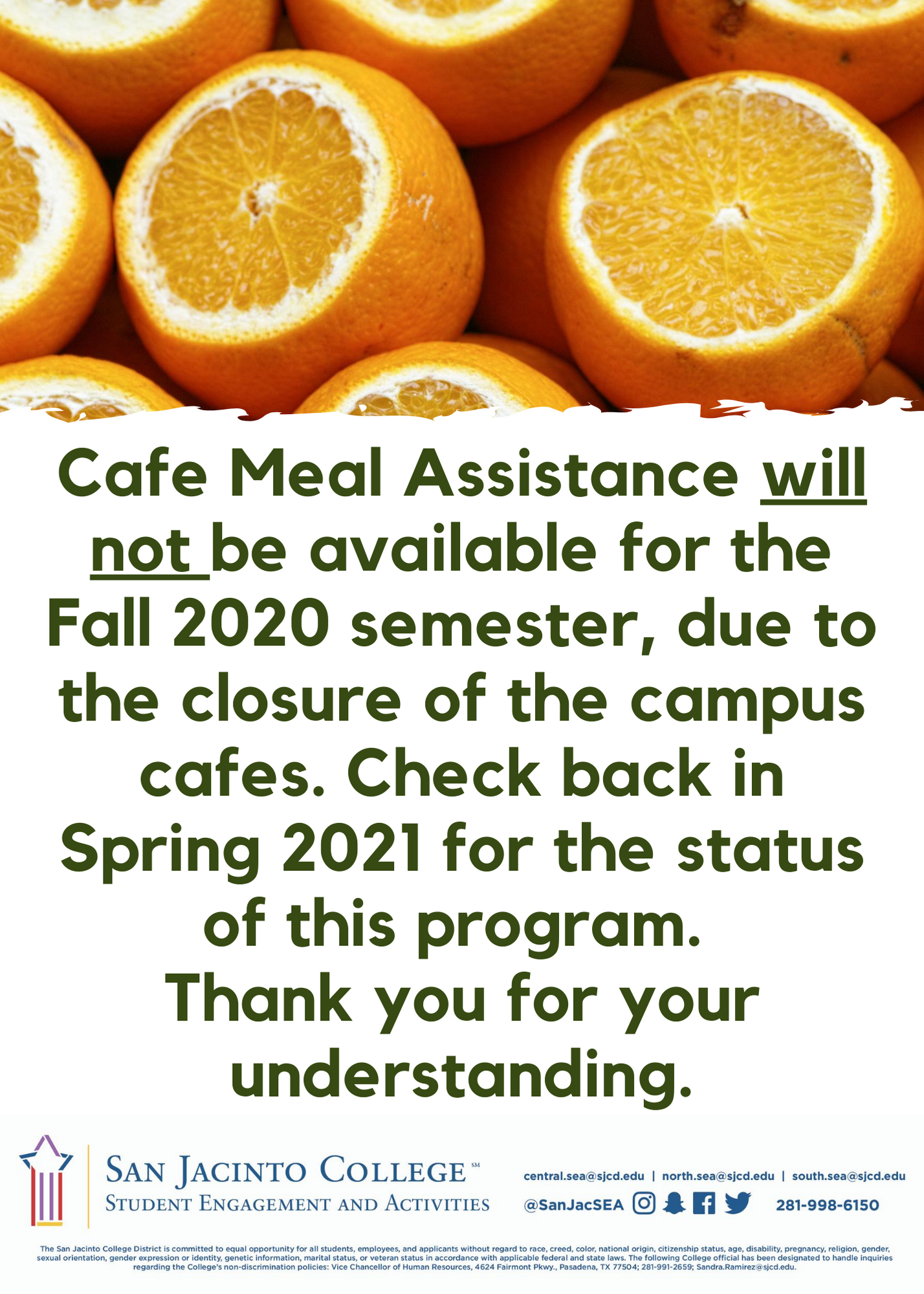 Cafe Meals Are not available for Fall 2020