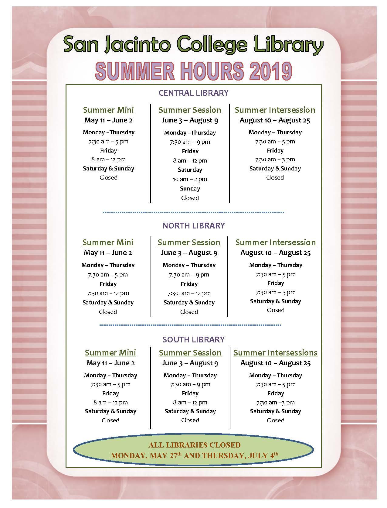 Summer 2019 Hours