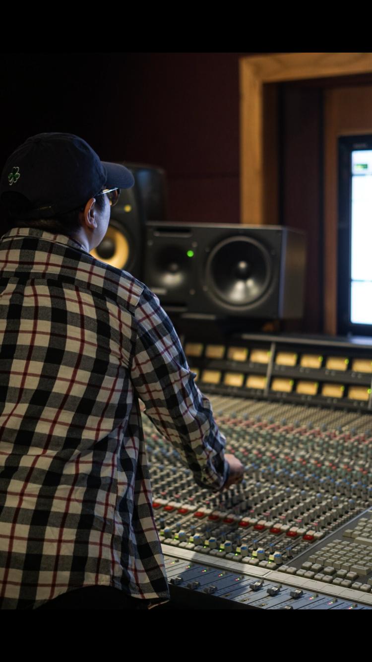 San Jacinto College Audio Engineering student in the recording studio