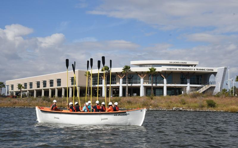 Maritime students in a row boat